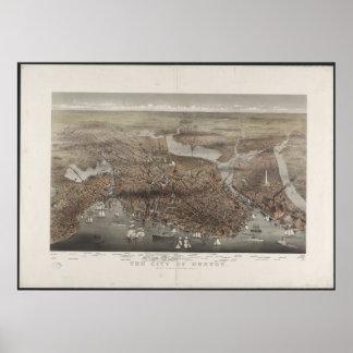 Boston City View 1873 Poster