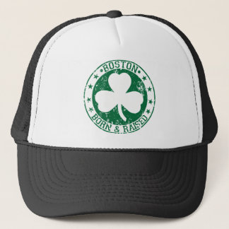 Boston clover born raised green.png trucker hat