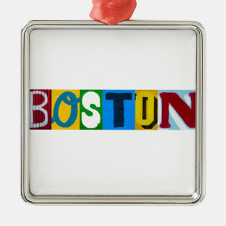Boston Colorful  Letters Metal Ornament
