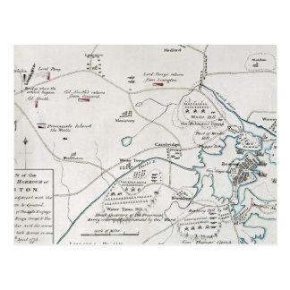 BOSTON-CONCORD MAP, 1775 POSTCARD