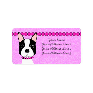 Boston Girl Boston Terrier Address Labels