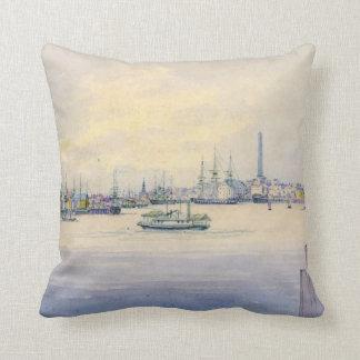 Boston Harbor 1846 Throw Pillows