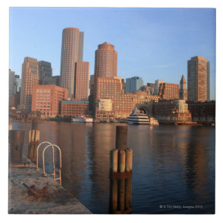 Boston Harbor and skyline.  Boston is one of the 3 Large Square Tile