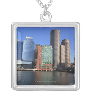Boston Harbor and skyline.  Boston is one of the 4 Silver Plated Necklace