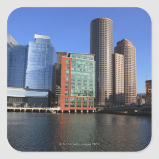 Boston Harbor and skyline.  Boston is one of the 4 Square Sticker
