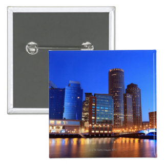 Boston Harbor and skyline.  Boston is one of the 5 15 Cm Square Badge