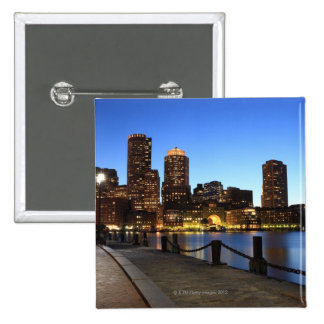 Boston Harbor and skyline.  Boston is one of the 6 15 Cm Square Badge