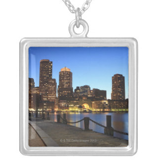 Boston Harbor and skyline.  Boston is one of the 6 Silver Plated Necklace