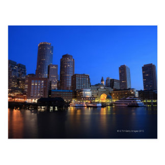 Boston Harbor and skyline.  Boston is one of the 8 Postcard