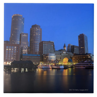 Boston Harbor and skyline Boston is one of the 8 Ceramic Tiles