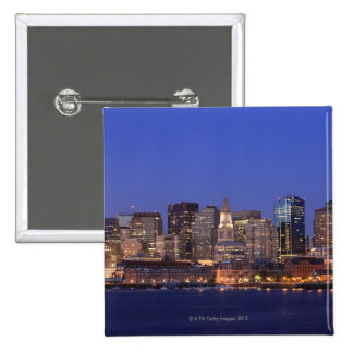 Boston Harbor and skyline.  Boston is one of the 9 15 Cm Square Badge