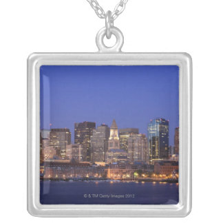 Boston Harbor and skyline.  Boston is one of the 9 Silver Plated Necklace