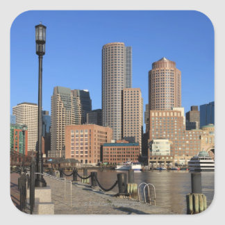 Boston Harbor and skyline.  Boston is one of the Square Sticker