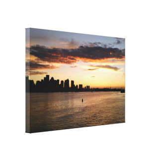 Boston Harbor at Sunset Stretched Canvas Print