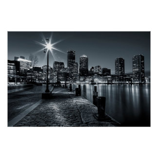 Boston Harbor B&W Night Poster