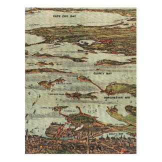 Boston Harbor Birdseye-view map Postcard