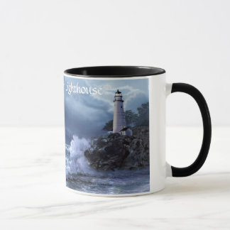Boston harbor lighthouse mug at night