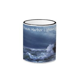 Boston harbor lighthouse mug at night