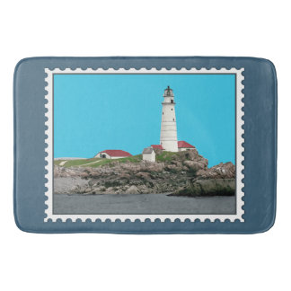 Boston Harbor Lighthouse Stamp Bath Mats