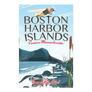 Boston Harbor Massachusetts Flight poster Stationery