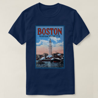 Boston Harbor Massachusetts Vintage Travel Poster T-Shirt