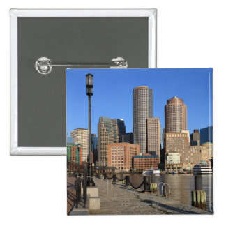 Boston Harbour and skyline.  Boston is one of the Pinback Buttons