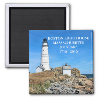 Boston Lighthouse, Massachusetts Square Magnet