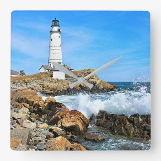 Boston Lighthouse, Massachusetts Square Wall Clock