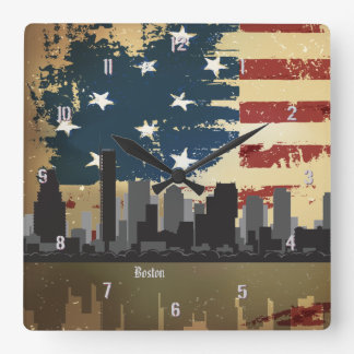 Boston, MA American Cities CityScape Wall Clock
