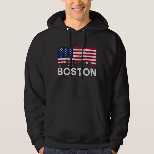 Boston MA American Flag Skyline Distressed Hoodie