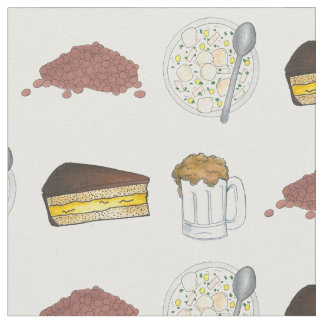 Boston MA Foods Baked Beans Chowder Beer Cream Pie Fabric
