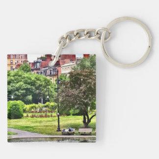 Boston MA - Relaxing In Boston Public Garden Key Ring