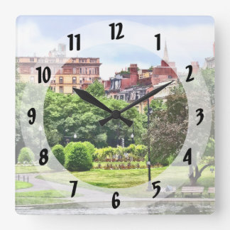 Boston MA - Relaxing In Boston Public Garden Square Wall Clock
