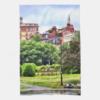 Boston MA - Relaxing In Boston Public Garden Tea Towel