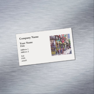 Boston MA - Restaurants on Creek Square Magnetic Business Card