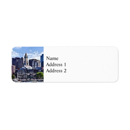 Boston MA - Skyline With Custom House Tower Return Address Label