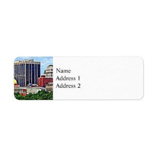 Boston MA - Skyline with Massachusetts State House Return Address Label