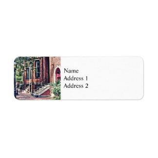 Boston MA - Walking the Dog on Mount Vernon Street Return Address Label