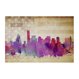 Boston, MA | Watercolor City Skyline Acrylic Print