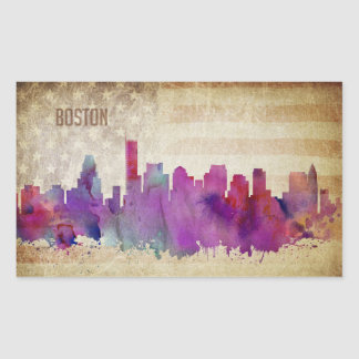Boston, MA | Watercolor City Skyline Rectangular Sticker