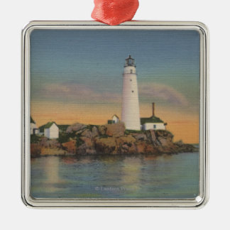 Boston, MABoston Lighthouse at Boston Harbor 2 Metal Ornament