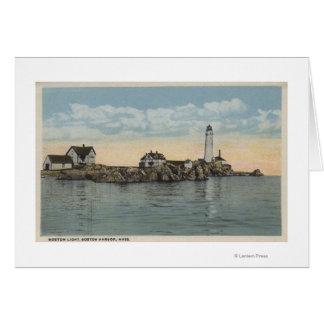 Boston, MABoston Lighthouse at Boston Harbor Greeting Card