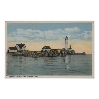 Boston, MABoston Lighthouse at Boston Harbor Poster