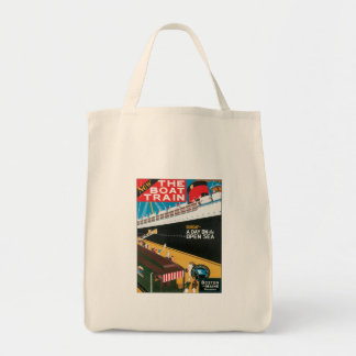 Boston Maine Boat Train US USA Vintage Travel Art Canvas Bags