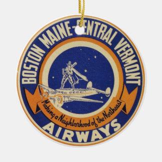 Boston Maine-Central Vermont Airways Logo Ceramic Ornament