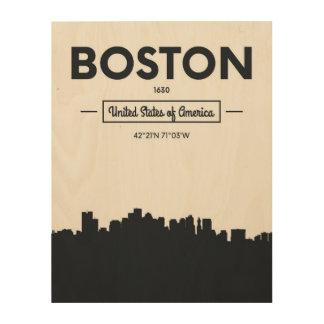 Boston, Massachusetts | City Coordinates Wood Wall Decor