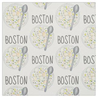 BOSTON Massachusetts Clam Chowder Foodie Soup MA Fabric