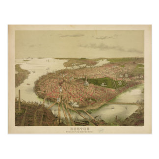 Boston Massachusetts in 1877 North Birds Eye View Post Card