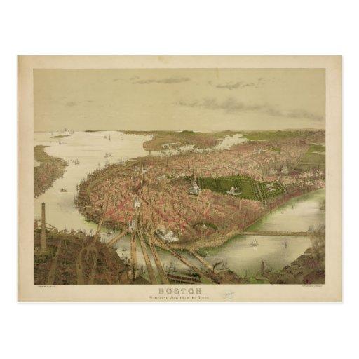Boston Massachusetts in 1877 North Birds Eye View Post Card