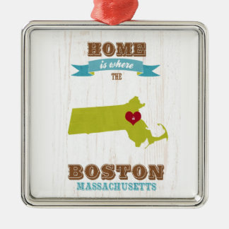 boston, massachusetts Map – Home Is Where Metal Ornament